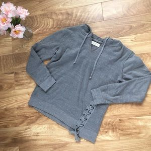Ocean Drive Grey Size Small Hoodie with Tie Front